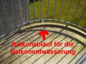 Balkonablauf fuer die Balkonentwaesserung